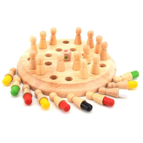 Wooden Memory Match Chess Game Clip Beads Montessori Educational Toys