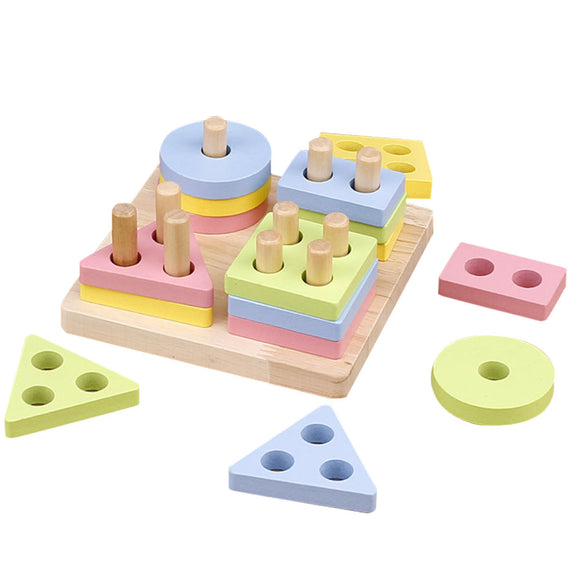4 pcs Wooden Shape Paired Cognitive Learning Math Brain Teaser Game Wooden Toys