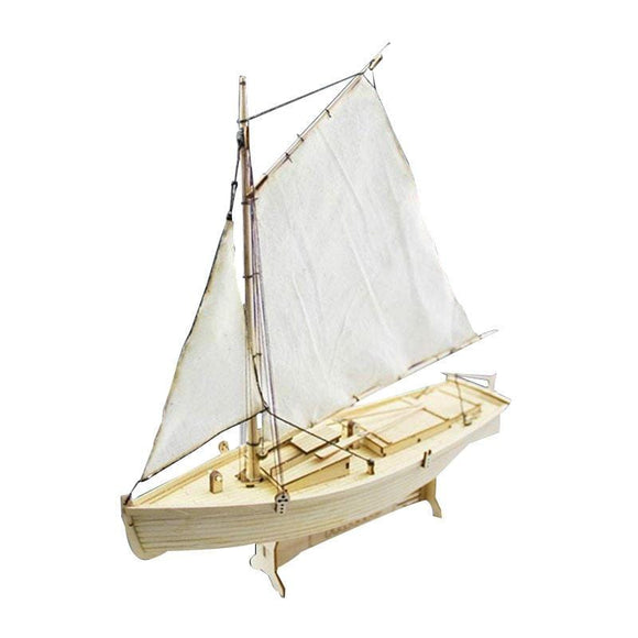 Wooden Sailing Boat Assembly Laser Cutting Process DIY Toy