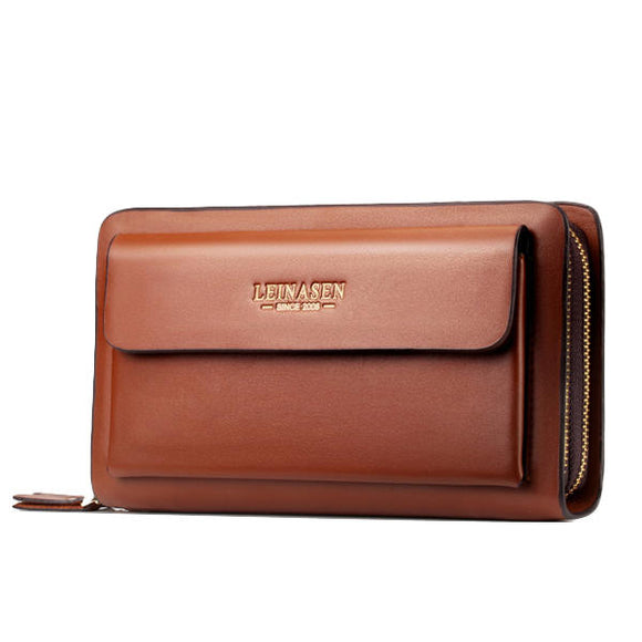 Unisex Business Clutch Wallet Leather Phone Bag