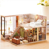 Miniature DIY Dollhouse With Furnitures Wooden House Toys