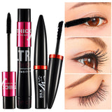 Waterproof Black Silk Mascara Makeup and Eyelashes Lengthening Set