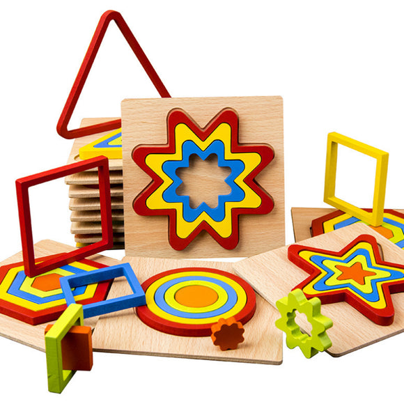 Creative 3D Wooden Geometric Shape Jigsaw Puzzle Brain Teaser Game Wooden Toys