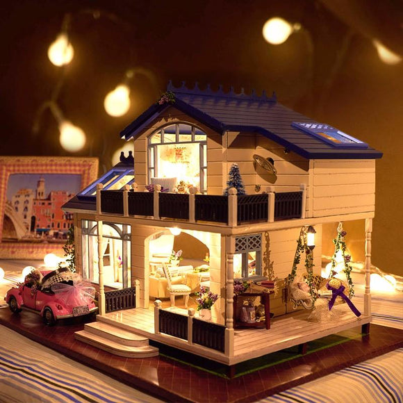 DIY Handicraft Miniature Voice Activated LED Light & Music Dollhouse