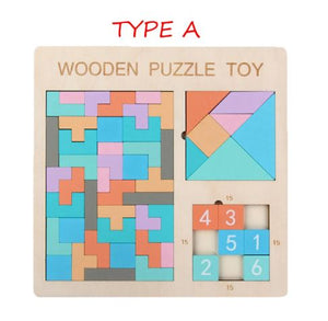 3D Intelligence Wooden Block Numbers Tangram Tetris Shape Jigsaw Puzzle  Brain Teaser Game