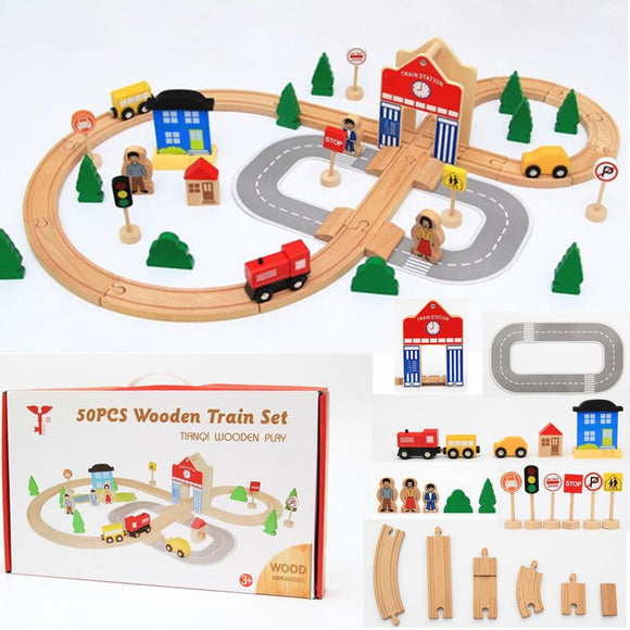 50 pieces Educational Wooden Railway Train Set for Kids and Children's Gift