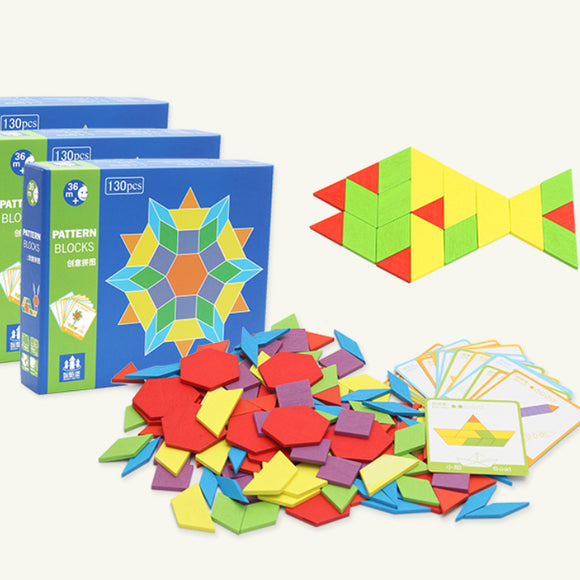 130pcs Colorful Wooden Geometric Shape Jigsaw Puzzle Blocks Educational Montessori Toy with 24 Pattern Cards Set