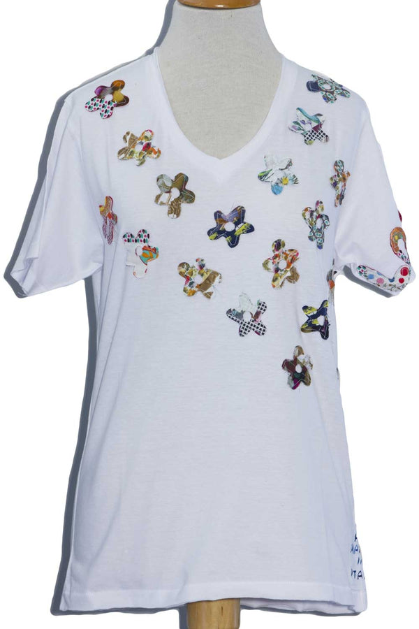 T-Shirt con Fiori Applicati