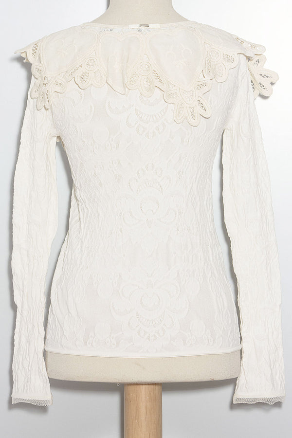 Cardigan in Pizzo Tecno-Stretch
