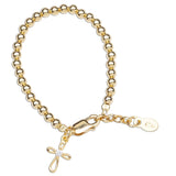 Bracelet: Lenox - 14K Gold Plated with Infinity Cross