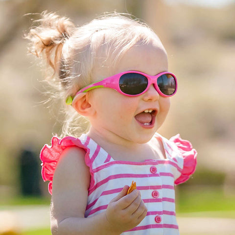 Real Shades Explorer Flexible Frame Sunglasses for Toddlers 2+, Cherry Pink/Lime Green