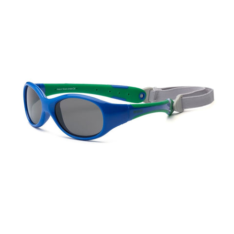 Real Shades Explorer Flexible Frame Sunglasses for Toddlers 2+, Royal/Green