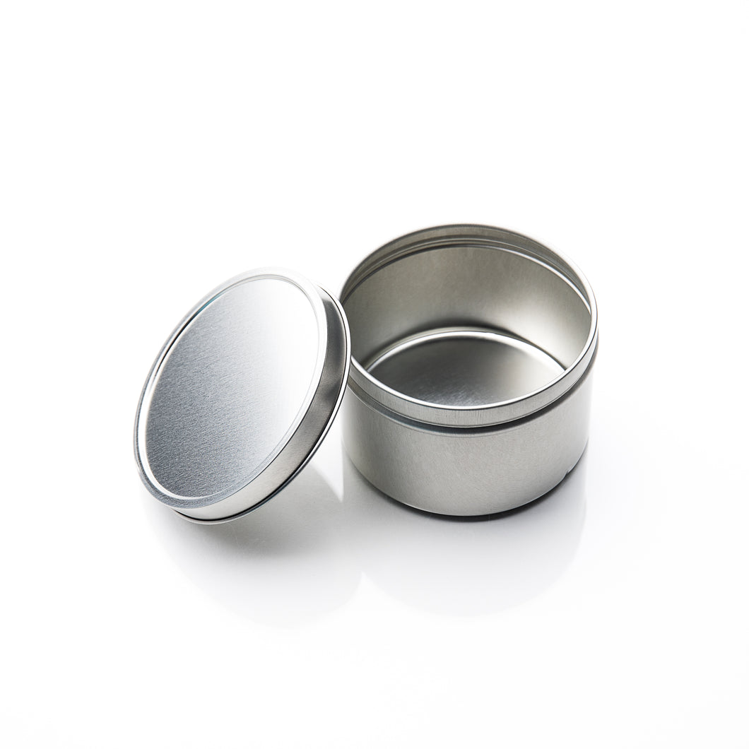 silver metal travel tin with lid for shampoo and conditioner bars, eco-friendly travel supplies