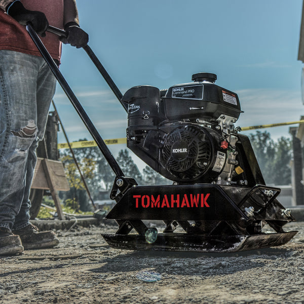 Construction crew using Vibratory Plate Compactor Tamper with Kohler Engine for Dirt Gravel Soil Compaction from Tomahawk Power