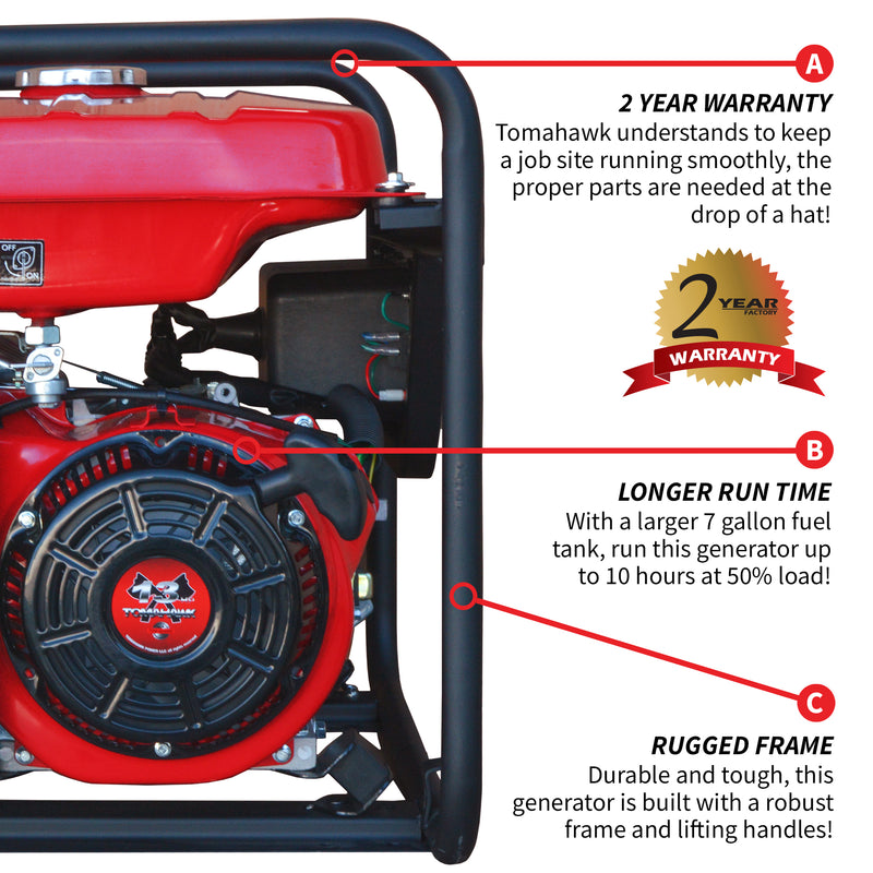 9000 Watt Gas Powered Portable Generator - Tomahawk Power