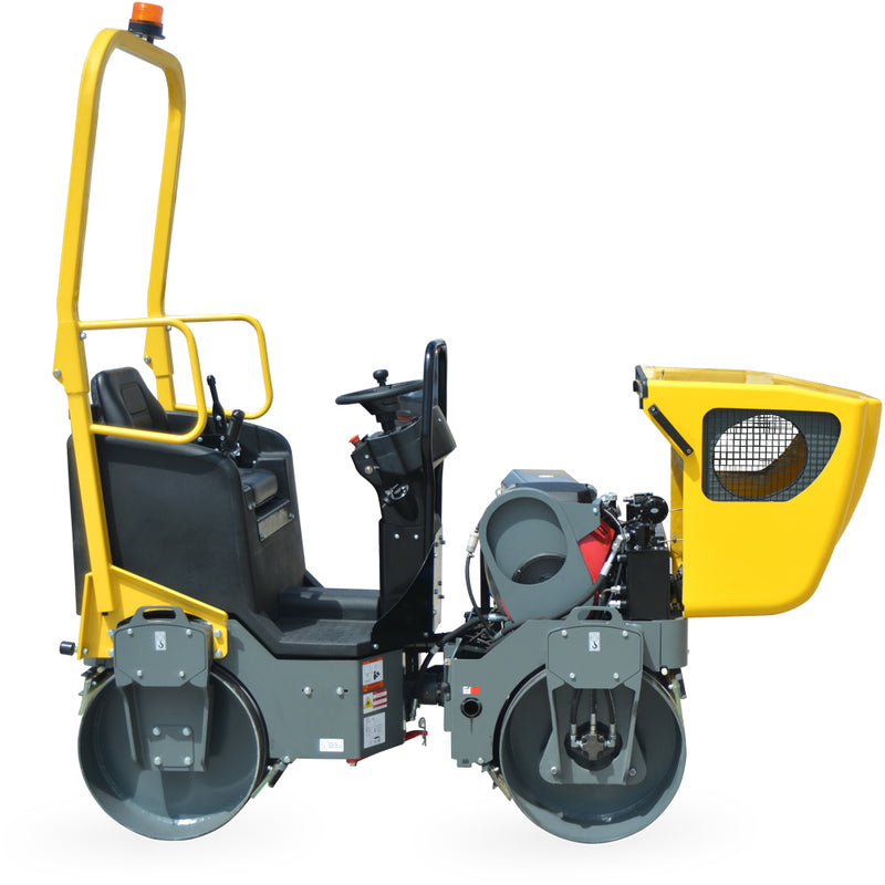 1.5 Ton Asphalt Roller with 20.8 HP Honda Engine 2300 lb Double Drum Road Roller - Tomahawk Power