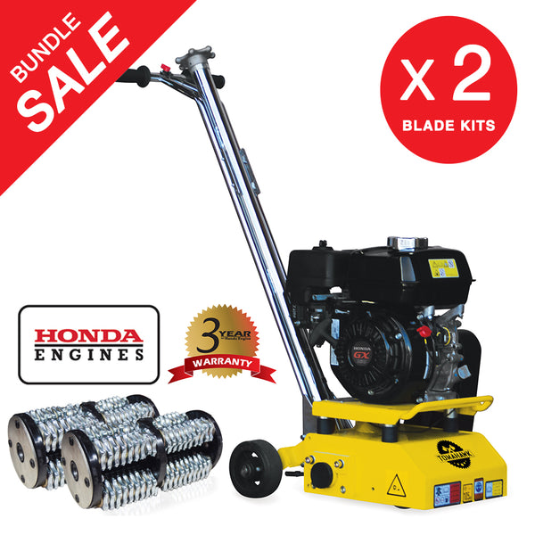 "8"" Gas Concrete Scarifier Planer Grinder with 5.5 HP Honda Engine Blade Bundle - Tomahawk Power"