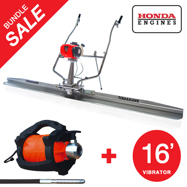 Honda Concrete Finishing Bundle - Screed + 16' Concrete Vibrator - Tomahawk Power