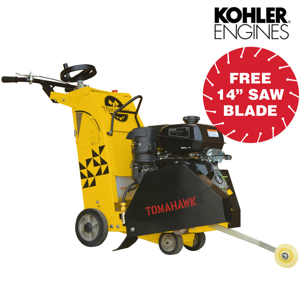 "18"" Walk Behind Floor Concrete Saw 14 HP Kohler CH440 Engine Concrete Cutting - Tomahawk Power"