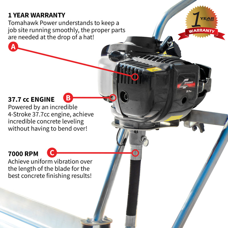 8ft Blade with 7000 RPM Vibratory Screed Power Unit w/ Tomahawk Engine - Tomahawk Power