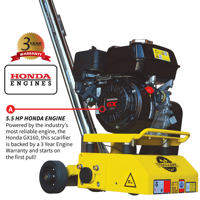 "8"" Gas Concrete Scarifier Planer Grinder with 5.5 HP Honda Engine Blade Bundle"