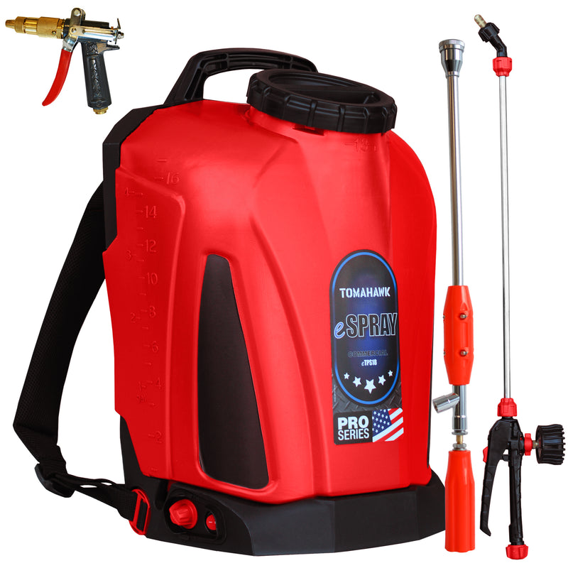 4 Gallon Battery Backpack Sprayer Lithium Powered Electric Operated for Weeds Disinfectant Yard Garden with Attachment Bundle