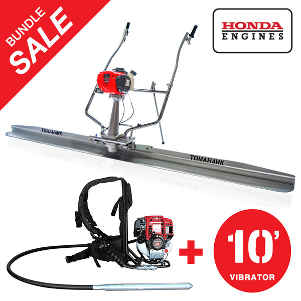 "Honda Concrete Finishing Bundle with Magnesium Screed Blade Float and Honda Vibrator with 10"" Whip"