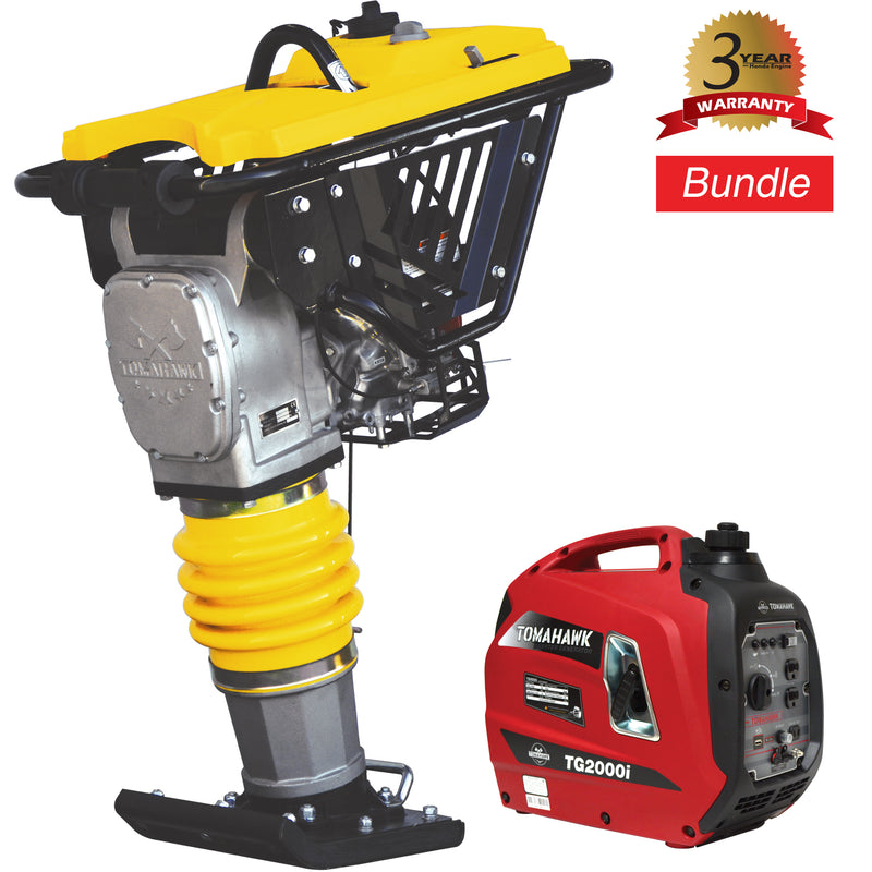 BUNDLE: 3.6 HP Honda Vibratory Rammer + 2000 Watt Inverter Generator Portable Power Bundle