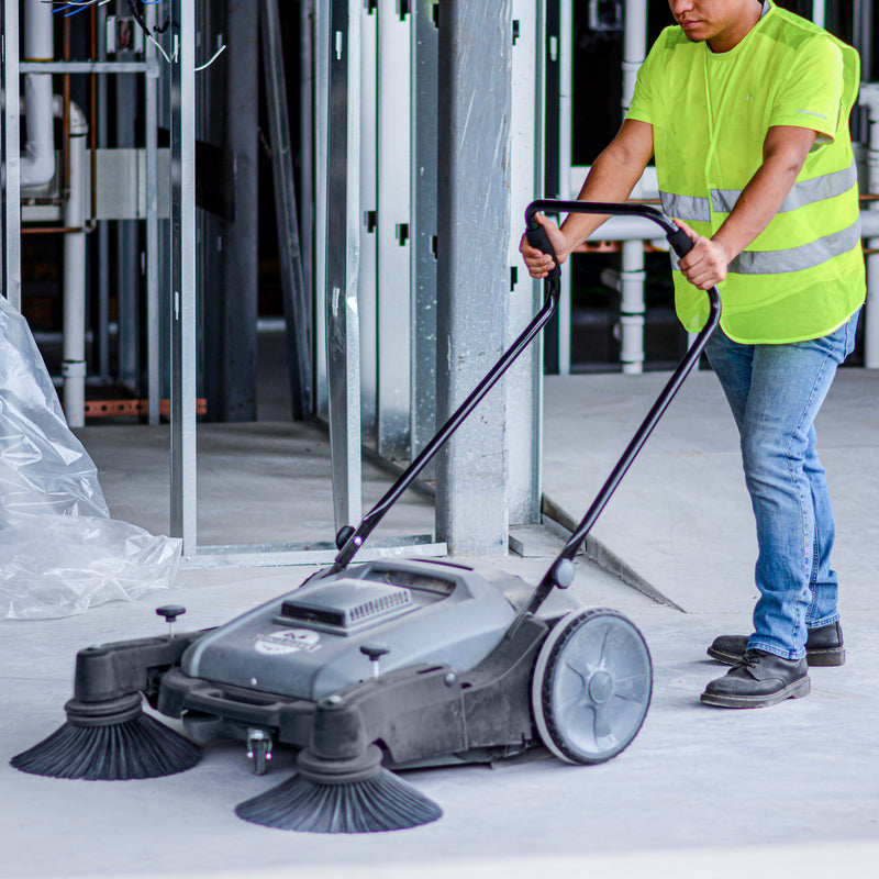 "Commercial 38"" Push Sweeper with Triple Power Brooms"