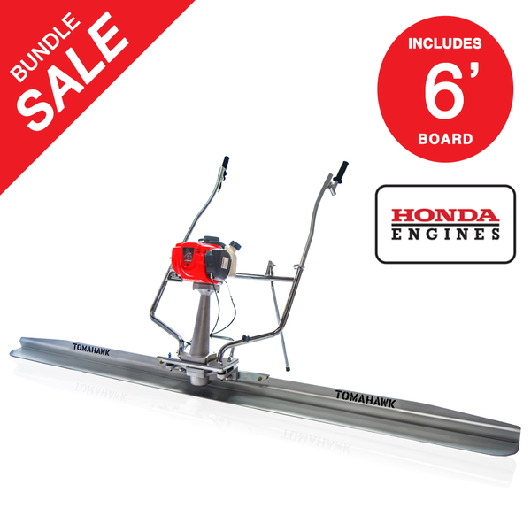 8ft TOMAHAWK Power Screed Concrete Finishing Tool with 14ft and 4ft Blades Bull Float Honda GX35