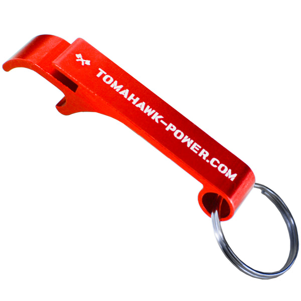 Tomahawk Engraved Aluminum Keychain Bottle Opener Red