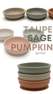 GigiandToops Silicone baby feeding bowls - Bundle of 3 (Taupe, Sage and Pumpkin)