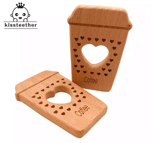Wooden Baby Teether 'Coffee' for 2 Pack