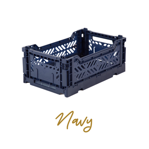 AYKASA Coloured Storage Crates - MIDI - Navy