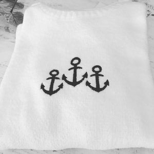 Anchor Embroidered Chenille Sweater