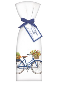 Blue bicycle with Flowers Kitchen Towels