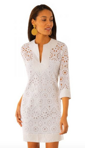 Split Neck Eyelet Dress