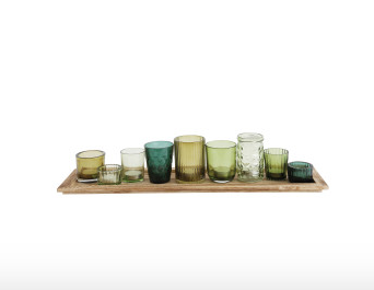 Glass votives on tray