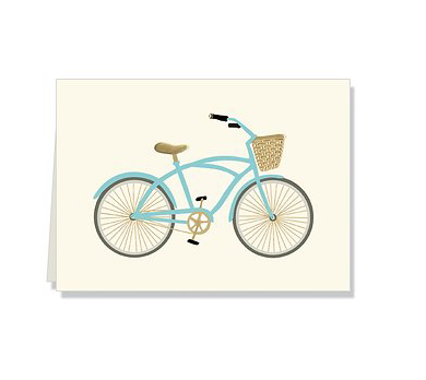 Blue Bicycle Folded Notecards
