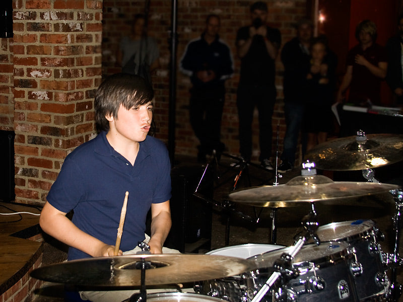 Charlie Vasiliou at Drumshop UK Gavin Harrison drum clinic