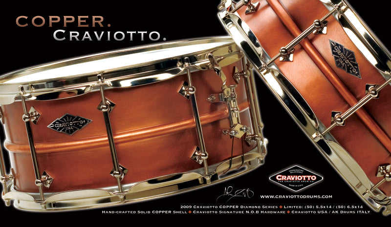 Craviotto Copper Snare Drums at Drumshop UK