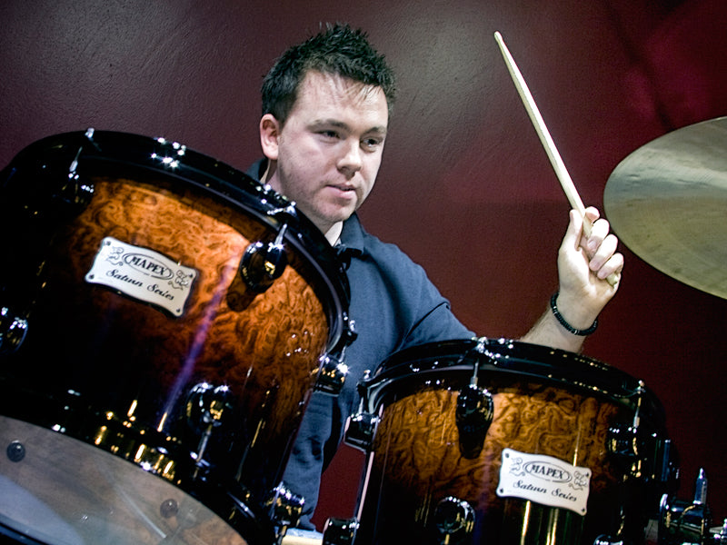Arron Walton on his Mapex drum Set