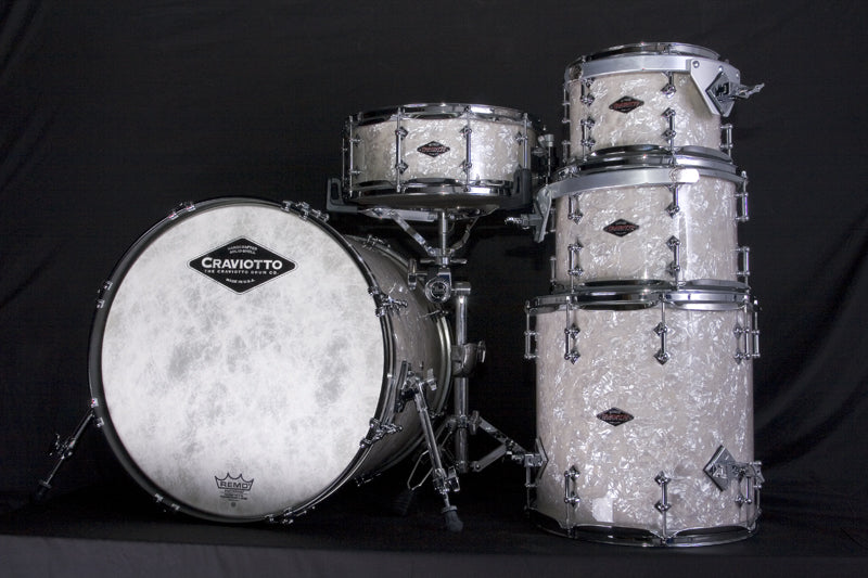 Craviotto White Marine Pearl drum kit at Drumshop UK