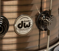 "DW RIBBED VINTAGE STEEL COPPER 14"" X 6.5"" SNARE DRUM WITH CHROME FITTINGS"