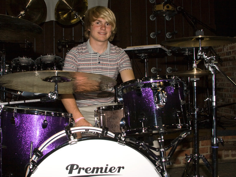 Max Harrison from Darlington with Premier Elite drum kit
