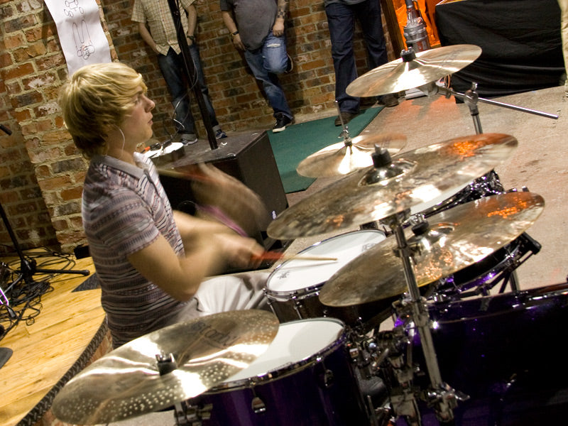 Max Harrison at Craig Blundell clinic plays Premier drums