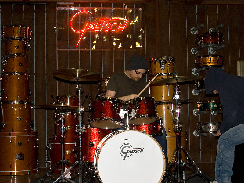 Wez playing Gretsch Catalina Club drum kit and Andy on the LP Cajon