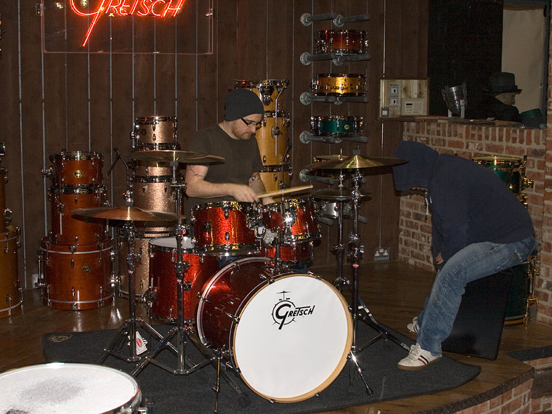 Gretsch drum kit and LP cajon Wez and Andy Drumshop UK