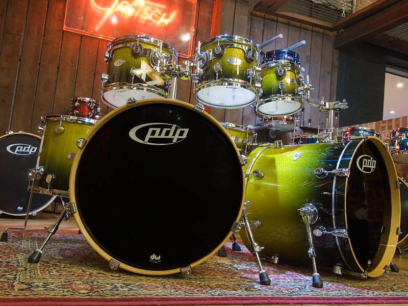 DW PDP X7 Gold to Black Sparkle Drum Kit