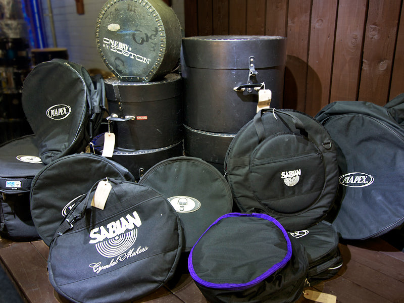 bags and cases in the junk yard at the drumshop